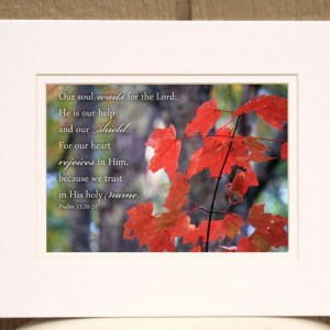 Christian Fall Decor - Psalm 33. 20-21 - Red fall leaves photo - Scripture art, Christian home decor, religous wall decor, Christian gift