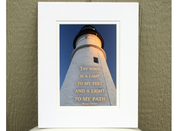 Christian Wall Art - Psalm 119 verse 105 - Thy Word Is a Lamp To My Feet - Lighthouse Photo - Religious Art, Christian Home Décor, Bible art