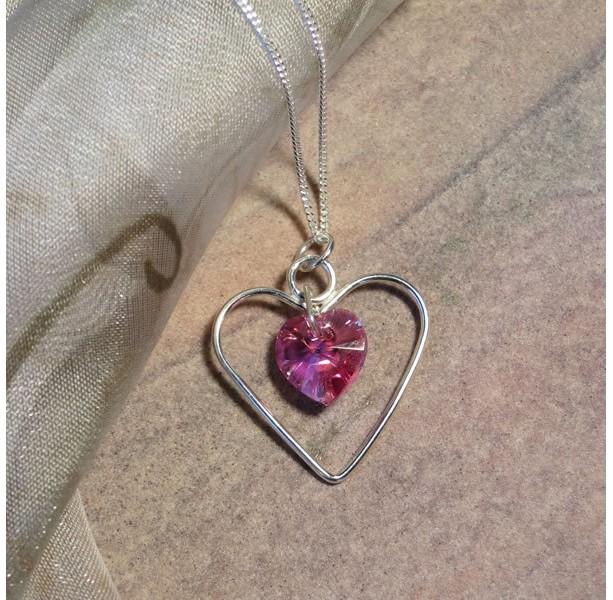 Swarovski Heart In Argentium Silver