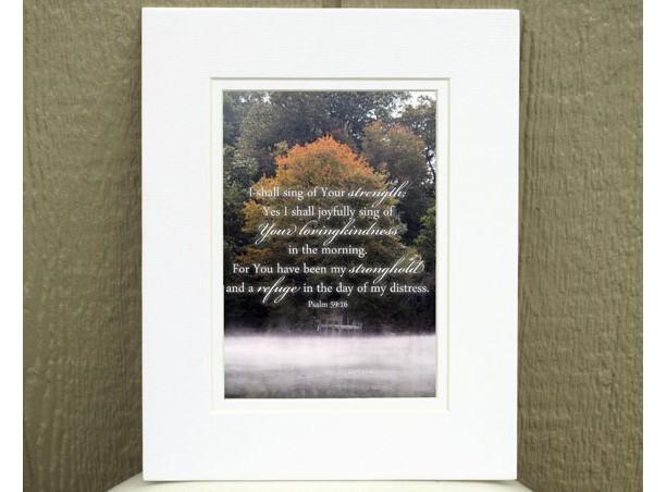 Religious Wall Art - Psalm 59:16 - Fog, Dock, & Foliage Photo - Scripture Art, Christian Wall Art, Bible verse art, Bible art