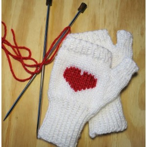 Hand-knitted Red Sweetheart Fingerless Mittens