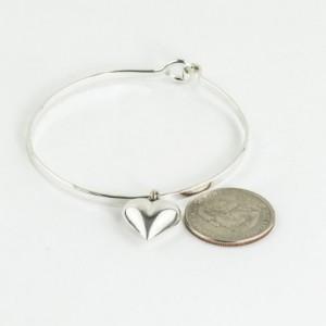 Sterling Silver Charm Bracelet, Silver Charm Bangle, Heart Jewelry, Silver Heart Bangle, Charm Bangle Bracelet, Silver Bangle Bracelet