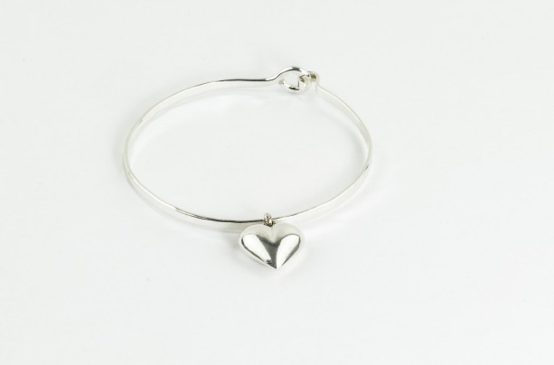 bangles silver sterling adjustable heart in baby bracelet children bangle