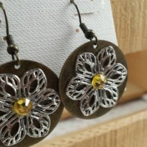 Flower Brass Dangle Earrings