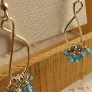 Teal long dangle earrings