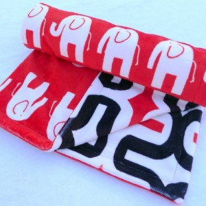 Elephant Baby Blanket - Red, Black, and White Minky Baby Blanket - Geometric Baby Blanket for Your Little Sugar Doodle - Unisex Baby Blanket