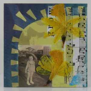 Original Handmade Collage, Grow Mary, Retro Photo Spring Celebrations, 6x6in