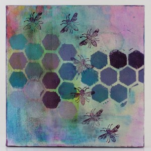 Original Handmade Collage, Pastel Honeycomb, Bee Flight Path, 10x10in