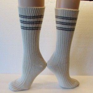 Winter Warm Angora Wool Socks in Cream with Grey Stripes, Free Shipping