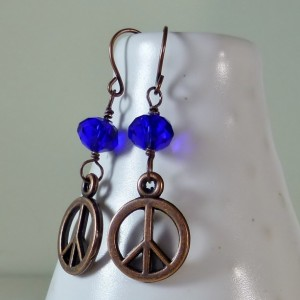 Cobalt blue czech glass drop with peace sign dangle earrings, cute and dainty earrings, boho, cheap and sweet earrings, dainty, feminine