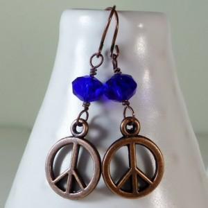 Cobalt blue czech glass drop with peace sign dangle earrings, cute and dainty earrings, boho, cheap and sweet earrings, dainty, feminine