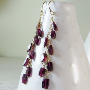 Long linear Garnet gemstone gold earrings,boho, faceted dark red gems,long garnet and gold chain dangle earrings, boho, gypsy, long earrings