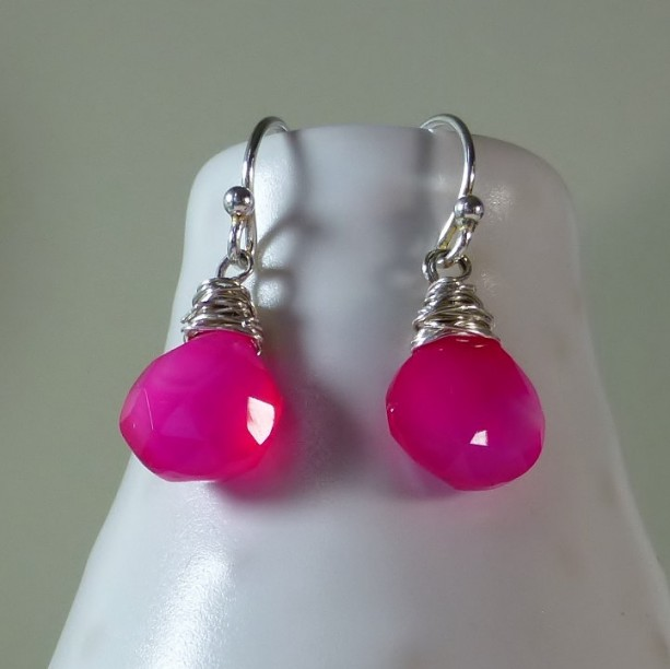 Hot Pink Fuchsia Chalcedony Drop Earrings Silver Minimalist Dainty
