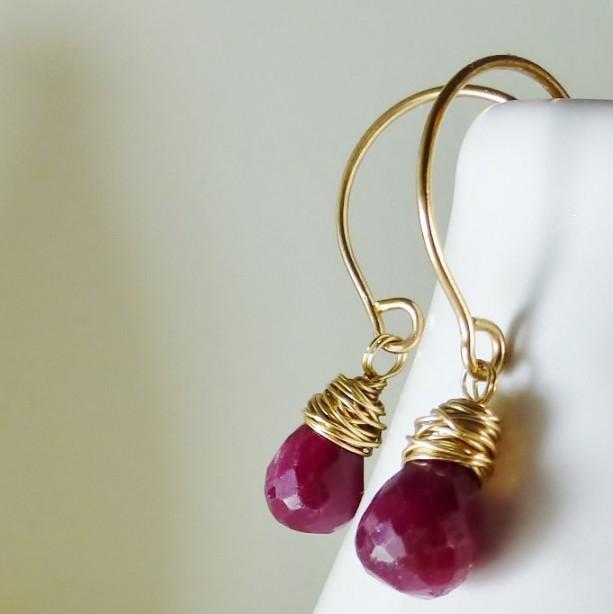 Ruby Drop Earrings Minimalist Dainty Red Gems Wedding Jewelry