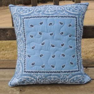 Large Light Blue Bandana Quilted Pillow Denim Backed Sham