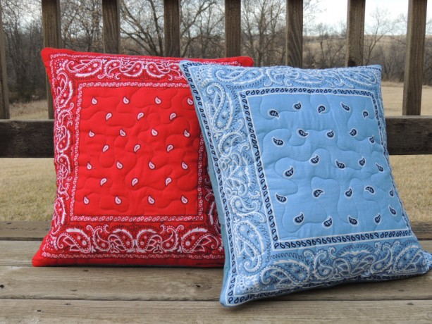 Large Any Color Bandana Quilted Pillow Denim Backed Sham