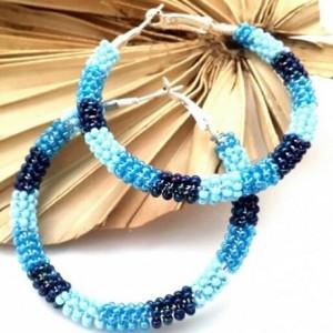 Blue Ombre Hoops, Denim Blue Dangles, Trendy Boho Earrings, Blue Wire Wrap Hoops, Beaded Boho Hoops, Baby Blue Hoops, Dark Blue Earrings