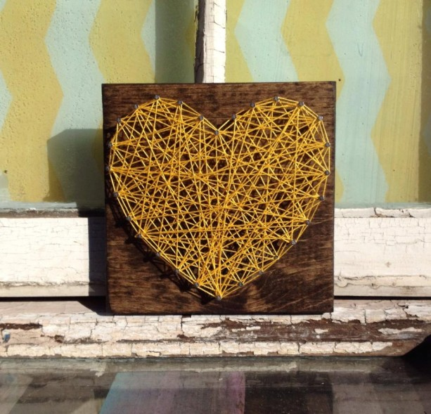 Nail And String Art Heart In Yellow On Stained Wood Aftcra