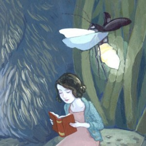 Rabbit and Girl Reading Print - The Iris Opens At Night - 11x14