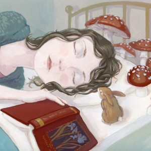 Dreaming - Girl Dreaming with Book Illustration - 8x10 Print