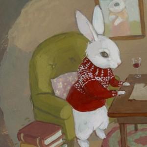 Under The Oak Tree - 11x14 Rabbit and Squirrel Burrow Illustration Print