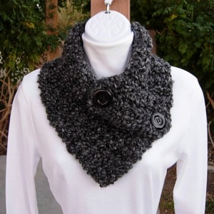 NECK WARMER Cowl SCARF Black Gray Gray Tweed with Black Buttons, Extra Soft Thick Crochet Knit Buttoned Scarflette..Ready to Ship in 2 Days