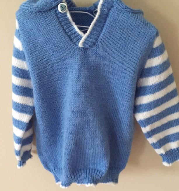 Blue Handmade Baby Hoodie Pullover Sweater.