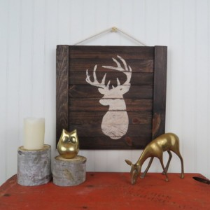 Rustic stag deer wooden wall art