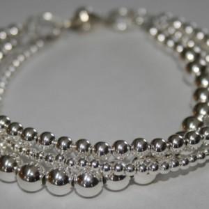 Shiny Sterling Silver Bracelet, Shiny Silver Beads, Shiny Sterling Silver, Wedding Bracelet, Bridal Jewelry, Wedding Jewelry, Silver Jewelry