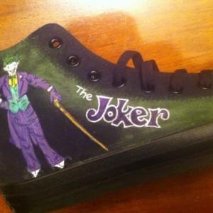 Joker, Harley Quinn inspired, Custom Converse,  DC, Comics, Chucks, Batman Characters, Villans, Comics