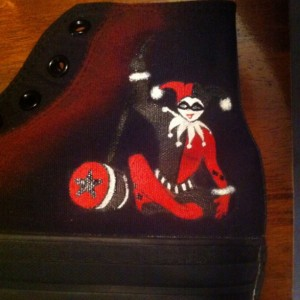 Joker, Harley Quinn inspired, Custom Converse,  DC, Comics, Chucks, Batman Characters, Villans, Comics
