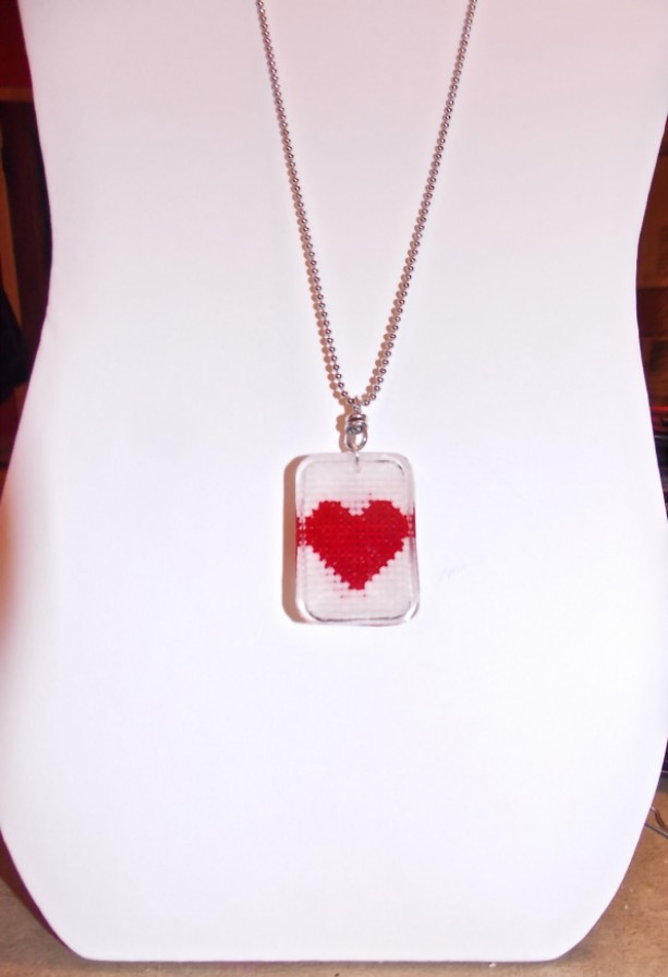 Cross Stitch heart, reversible custom, resin pendant