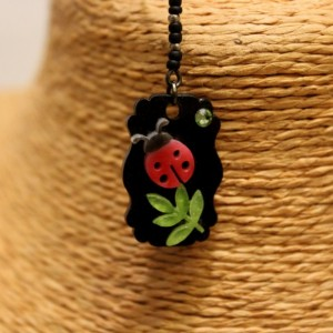 Cute ladybug on a green leaf dangle earrings / Cute shrink plastic beetle, insect, leaf art jewelry
