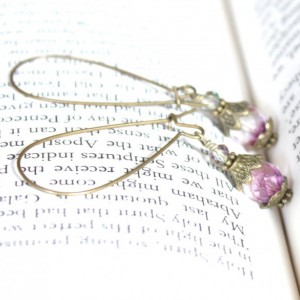 Dainty Antique Style Earrings with Fuchsia Czech Glass Beads, NeoVictorian, Old World, Romantic