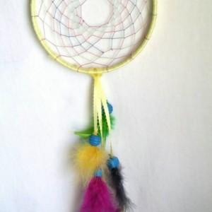 Small Dream Catcher Handmade, Bright Multicolored Dreamcatcher Feathered, 6 inch, Native American Indian Home Decor, Sun catcher