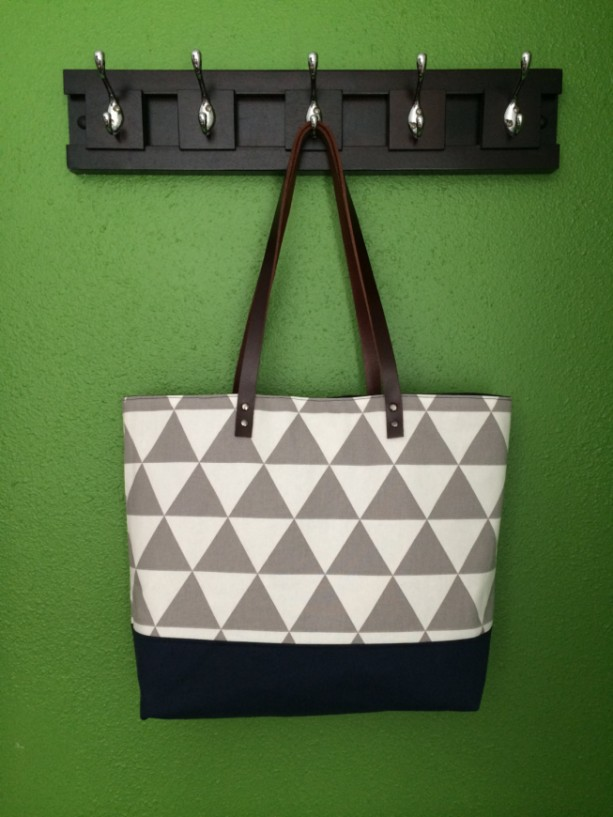 Large Tote Bag /// Gray and White Triangles with Navy Canvas Bottom and Brown Buffalo Leather Straps