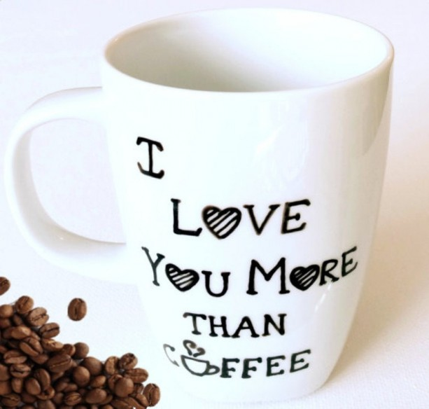I Love You More Than Coffee Hand Painted Coffee Mug - Dishwasher  aftcra
