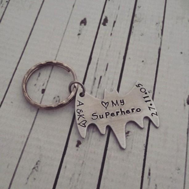 My Superhero Keychain - Hand Stamped Superhero Keychain - Custom Superhero Keychain - Personalized Superhero Keychain - Custom Bat Keychain
