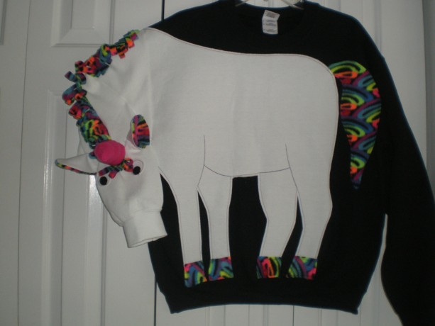 Unicorn sweatshirt, unicorn shirt. Rainbow trim, mystical, magical, adult sizes small to Xlarge. Cosplay
