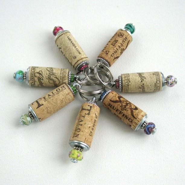 One Wine cork keychain, beaded cork keychain, cork keyring, brid ...