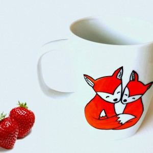 What The Fox Mug - Hand Painted Woodland Friends Coffee Cup - What Does The Fox Say 10 oz
