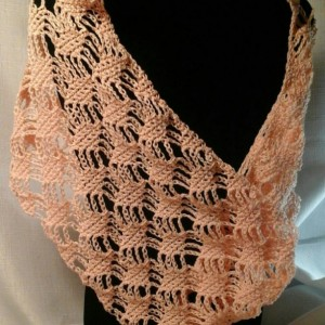 Lacey Lattice Cowl in Peach