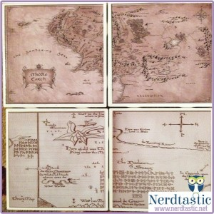 Lord of the Rings Hobbit MIDDLE EARTH Thorin's Map Book Coasters (Set of 4)