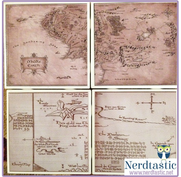 lord of the rings hobbit middle earth thorins map book coasters set