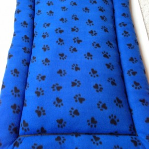 Blue Black Paw Prints, Dog Crate Pad, Fleece Dog Bed, Pet Crate Cover, Pet Crate Mat, Dog Crate Pad, Plush Dog Beds, Designer Dog Beds