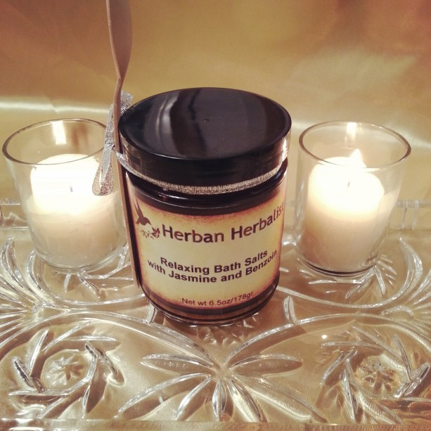 Relaxing bath salts, jasmine bath salts, benzoin bath salts, aromatherapy salts, natural bath salts, handmade bath salts