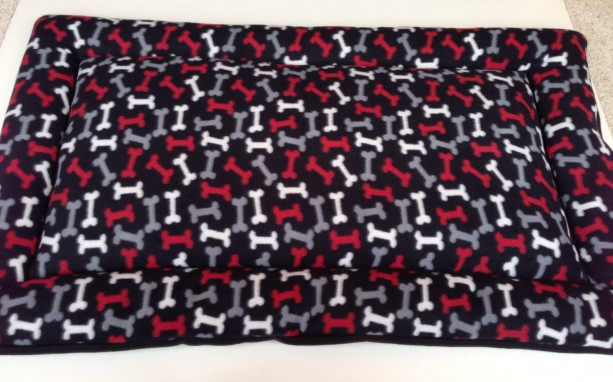 Fleece Dog Bed with Bones, Large Crate Pad, XL Kennel Mat, Pet Cushion, Plush Dog Beds, Designer Dog Beds, Gift for Dog Lovers