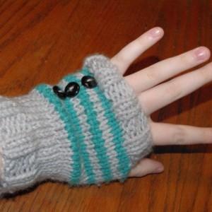Cheshire Cat Inspired Knitted Fingerless Gloves