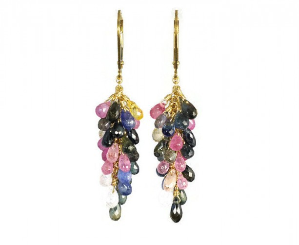 Sapphire Earrings, Leverback Earrings, Birthstone Earrings, Gemstone Earrings, Cluster Earrings, Healing Earrings, Bridal Earrings