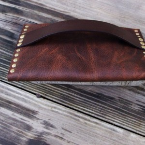 Rustic Leather Clutch with Hand Strap Brass Rivets and Brass Post Closure by Bret Cali Handmade Leather Purse